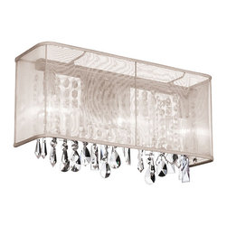 Dainolite - Dainolite 2LT Crystal Vanity - 2 Light Vanity Fixture, Polished Chrome, Oyster Organza Rectangular Shade