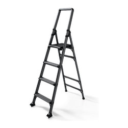 "Frontgate - High Reach 4-Step Ladder - Crafted from durable aircraft-grade aluminum. 3½"" deep steps. Folds down to a width of 5¼"" for storage. Conforms to ANSI Type IA commercial standards. 300-lb. capacity. Featuring a top step that's significantly higher than typical 4-step models, this lightweight aluminum ladder gives you the added reach you need for all your household tasks.  . 3 1/2 "" deep steps . Folds down to a width of 5 1/4 "" for storage .  .  ."