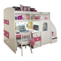 Berg Furniture - Berg Furniture Play and Study Twin Loft Bed - Berg Furniture - Bunk Beds - 9174XX - Finally a bedroom system that has it all! The Play and Study line combines years of innovation and research to create children's furniture unlike anything else. With this one of a kind bedroom set children can learn the value of living in an organized structured environment while dedicating space exclusively to building their sense of creativity. It features a twin loft bed a spacious desk fitted with a surge protector and lighting a full chest of drawers and a fully lit secret play-area that wraps around neatly behind the desk. Berg's Signature Staircase completes the system and provides safety comfort and plenty of storage. Don't bring home a bedroom for your child bring them back a kingdom!