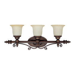 "Capital Lighting - Avery Vanity Fixture - 3-Light - Avery 2, 3 or 4-Light Vanity Fixture. Burnished Bronze finish.  Takes two, three or four 100W bulbs.  UL Listed.  Rated for Damp locations.  Shade Material: Mist Scavo glass shades.  Backplate: 9.5"" w x 5.7"" h  2-Light Fixture: 23 1/2"" w x 7"" d x 10 3/4"" h  3-Light Fixture: 31"" w x 7"" d x 11 1/4"" h  4-Light Fixture: 40"" w x 7"" d x 13 1/4"" h"