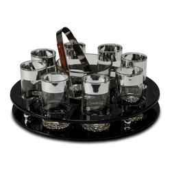 Black Patent Leather Barware Set - 15 diam x 5.25 h