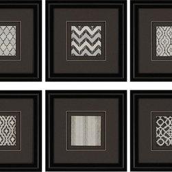 Paragon Decor - Modele Set of 6 Artwork - Black and white geometrics are enhanced with charcoal matting and black finish molding.