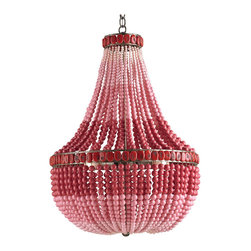 Kathy Kuo Home - Red Pink Beaded Coastal Beach 3 Light Chandelier - Add a posh pink focal point with this flamboyant chandelier. Each unique piece is hand beaded for an eclectic ombre effect. A trio of lights illuminates this blushing beauty.