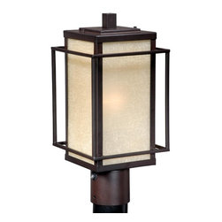 Vaxcel - Robie Espresso Bronze 15 Inch Outdoor Post Light - Dimensions: 7.125 in. W x 7.125 in. L x 15 in. H.
