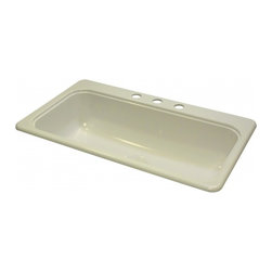 "Lyons - Lyons Deluxe DKS09SB3 Acrylic Kitchen Sink - Lyons Industries single Bowl Biscuit acrylic Recreational Vehicle-Motor Home sink with a 7.5"" deep bowl and a 3.5"" drain opening. This standard self rimming 33""X 19"" sink is easy to install. This sturdy sink has durable easy to clean high gloss acrylic construction with a fiberglass reinforced insulation backer. This sink is quiet and provides a superior heat retention than other sink materials meaning your water stays warm longer. Lyons sinks come with a simple mounting tab and clip system to firmly fasten the sink to the countertop and reinforced drain areas. Detailed installation instructions include the cut-out specifications. Lyons sinks are proudly Made in America by experienced artisans supporting our economy."