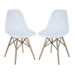 LexMod - Two Plastic Side Chairs in White with Wooden Base - These molded plastic chairs are both flexible and comfortable, with an exciting variety of base options. Suitable for indoors or out, appropriate for the living and dinning room, these versatile chairs are a great addition to any home decor statement