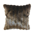 """The Pillow Collection - Eilonwy Mink Pillow, Brown, 18"""" x 18"""" - Bring a touch of elegance and sophistication to your home with this mink throw pillow. This accent pillow is rich, soft and fluffy. Stripes in silver, brown and black gives this square pillow an interesting appearance. Decorate this 18"""" pillow on top of your love chair, sofa or bed for a stylish twist. This decor pillow is ideal for contemporary, modern, lodge, traditional styles. Hidden zipper closure for easy cover removal.  Knife edge finish on all four sides.  Reversible pillow with the same fabric on the back side.  Spot cleaning suggested."""