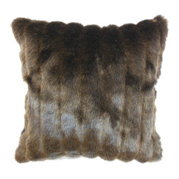 "The Pillow Collection - Eilonwy Mink Pillow, Brown, 18"" x 18"" - Bring a touch of elegance and sophistication to your home with this mink throw pillow. This accent pillow is rich, soft and fluffy. Stripes in silver, brown and black gives this square pillow an interesting appearance. Decorate this 18"" pillow on top of your love chair, sofa or bed for a stylish twist. This decor pillow is ideal for contemporary, modern, lodge, traditional styles. Hidden zipper closure for easy cover removal.  Knife edge finish on all four sides.  Reversible pillow with the same fabric on the back side.  Spot cleaning suggested."