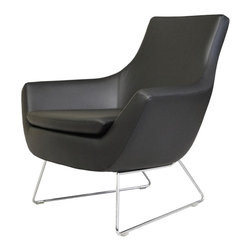 """Rebecca Stylish Wire Armchair by sohoConcept - Rebecca is an armchair of modern chic design, with a brilliant chromed steel wire base. Each leg is tipped with a plastic glide embedded into the metal wire. The padded seat cushion enhances the comfort of the chair. The seat has a steel structure with """"S"""" shape springs for extra flexibility and strength. This steel frame molded by injecting polyurethane foam. Rebecca seat is upholstered with leather, PPM or wool fabric. The chair is suitable for both residential and commercial use."""