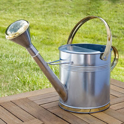 Small Galvanized Steel Watering Can - This miniature version of our Galvanized Steel Watering Can holds 1 gallon of liquid, perfect for nourishing smaller container gardens or flower beds. Its small size and sturdy handles make it easy to lift to the highest hanging plants or lower to your ground-level blooms.