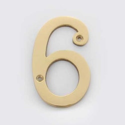 Solid Brass 4 Inch (100MM) Door Number 6 #2276 | Cool House Numbers - Number 6 Polished Brass Solid Brass 4 Inch (100mm)
