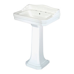 Pegasus - 8 in. Widespread Pedestal Lavatory Sink - FL - Color: WhiteManufacturer SKU: FL-1930-8W. Recessed soap dish. Integral backsplash. Pre-drilled for 8 in. widespread lavatory faucet. Integral faucet deck. Stylish art deco design. Rear overflow. Made from high quality vitreous china. 26.88 in. W x 20.25 in. D x 38.5 in. H (94.25 lbs.)