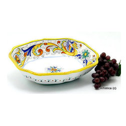 Artistica - Hand Made in Italy - Raffaellesco: Oblong Bowl Sim (Med) - Raffaellesco Collection: Among the most popular and enduring Italian majolica patterns, the classic Raffaellesco traces its origin to 16th century, and the graceful arabesques of Raphael's famous frescoes.