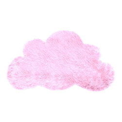 FurAccents - Soft Shaggy Faux Fur Cloud Accent Rug Kids Room, Bubblegum Pink, 5'x6' - A Cute and Unique Accent Rug. Richly Colored Shaggy Faux Fur. Our Classic Cloud Shape Design. Made from 100% Animal Free and Eco Friendly Fibers. Perfect for a Baby Nursery or Child's Room or any room in the house. Skilfully made and Tastefully lined with Color Coordinated Parchment Ultra Suede. Luxury, Quality and Unique Style for the most discriminating designer/decorator.