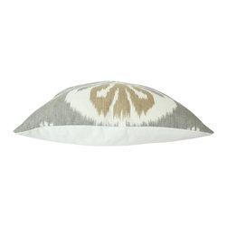 The Pillow Studio - Kravet Bansuri Grey Tan Ivory Ikat Pillow Cover - I love this grey and brown Ikat pillow.