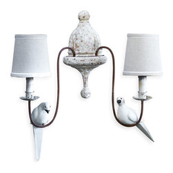 Kathy Kuo Home - Moliere French Country 2 Light Rusted Arm Doves Sconce - Birds of a feather will flock to this lamp. The warmth of this French country sconce is exceeded only by the charm of the two birds perched on its graceful curves. Hung in your home, it will impart all the atmosphere of a grand château.
