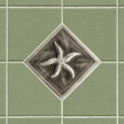 "4"" Aluminum Wall Tile with Starfish Design - Accent your kitchen or bath tile with this charming aluminum wall tile. It features a quaint starfish design and is offered with an optional tile frame for a custom look."