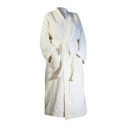 SHOO-FOO - Bamboo/Organic Cotton Bathrobe, Natural Creamy Off-White, No Dye, Large - This soft and highly absorbent'bamboo bathrobe'made of a sturdy, tear-resistant blend of 70%'viscose from organic bamboo and 30% organic cotton at 600g/sq meter (gsm) is sure to last for years of showering and pampering, or just being comfortable around the house!