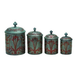 Old Dutch International - 4-Pc Art Nouveau Canister w Fresh Seal Covers - Includes canisters of 1, 1.5, 2 and 4 quarts. Made from steel. Verdigris finish. 7.5 in. dia. x 11 in. H (6 lbs.)