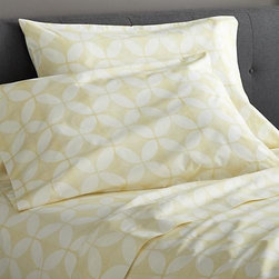 """Cate Yellow Full Sheet Set - Taking note of the stunning textiles of India's Rajasthan region, the Cate collection recreates the artisanal play of organic and geometric forms in vibrant color. Versatile look in soft, cotton percale mixes and matches for a varied, layered bed. Generous 16 """" pockets accommodate thicker mattresses. Bed pillows also available."""