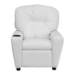 """Flash Furniture - Contemporary White Vinyl Kids Recliner with Cup Holder - Kids will now be able to enjoy the comfort that adults experience with a comfortable recliner that was made just for them! This chair features a strong wood frame with soft foam and then enveloped in durable vinyl upholstery for your active child. Choose from an array of colors that will best suit your child's personality or bedroom. This petite sized recliner will not disappoint with the added cup holder feature in the armrest that is sure to make your child feel like a big kid!; Child's Recliner; Overstuffed Padding for Comfort; White Vinyl Upholstery; Easy to Clean with Damp Cloth; Cup Holder in armrest; Solid Hardwood Frame; Raised Black Plastic Feet; Intended use for Children Ages 3-9; 90 lb. Weight Limit; Meets or Exceeds CA117 Fire Resistance Standards; Safety Feature: Will not recline unless child is in seated position and pulls ottoman 1"""" out and then reclines; Assembly Required: Yes; Country of Origin: China; Warranty: 2 Years; Weight: 23.8 lbs.; Dimensions: 28""""H x 24.5""""W x 25 - 39""""D"""
