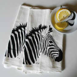 Zebra Hand Screen Printed Tea Towel by Branch Handmade - In the African wild, zebras live in both small harems and large herds. In my kitchen, Branch's hand-screen-printed, cotton zebra towels live on my towel bar.