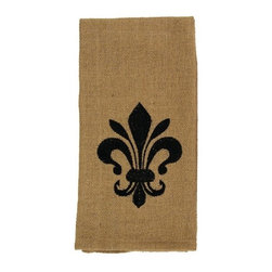 India Home Fashions - Burlap Dish Towel, Fleur-de-Lis, Plain - Burlap Dishtowels provide the natural look of Burlap but feature the softer feel of cotton. These dishtowels measure 22 inches by 28 inches and can be both functional and decorative. Available in Burlap Check and Burlap Star patterns, these kitchen towels can be mixed and matched for a rustic look unique to your style.