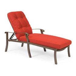 Woodard - Woodard Cortland Cushion Adjustable Chaise Lounge Multicolor - 4ZM470 - Shop for Chaise Lounges from Hayneedle.com! Who said you can't have it all? The Woodard Cortland Cushion Adjustable Chaise Lounge says you can. This piece gives you style comfort and quality all in one stunning chair. It's sure to become the best seat in (or out of) the house so you might want to get more than one. Complete with a deep 20-inch seatback height for ultimate in relaxation and the enduring fabric. Choose your finish then pick your complementary fabric from the hottest colors and patterns and voila! You've just become your own outdoor living designer. Ships fully assembled for the ultimate in quality and convenience.Important NoticeThis item is custom-made to order which means production begins immediately upon receipt of each order. Because of this cancellations must be made via telephone to 1-800-351-5699 within 24 hours of order placement. Emails are not currently acceptable forms of cancellation. Thank you for your consideration in this matter.Woodard: Hand-crafted to Withstand the Test of TimeFor over 140 years Woodard craftsmen have designed and manufactured products loyal to the timeless art of quality furniture construction. Using the age-old art of hand-forming and the latest in high-tech manufacturing Woodard remains committed to creating products that will provide years of enjoyment.Superior Materials for Lasting DurabilityIn the Aluminum Collections Woodard's trademark for excellence begins with a core of seamless virgin aluminum: the heaviest purest and strongest available. The wall thickness of Woodard frames surpasses the industry's most rigid standards. Cast aluminum furniture is constructed using only the highest grade aluminum ingots which are the purest and most resilient aluminum alloys available. These alloys strengthen the furniture and simultaneously render it malleable. The end result is a fusion of durability and beauty that places Woodard Aluminum furniture in a league of its own.Fabric Finish and Strap FeaturesAll fabric finish and straps are manufactured and applied with the legendary Woodard standard of excellence. Each collection offers a variety of frame finishes that seal in quality while providing color choices to suit any taste. Current finishing processes are monitored for thickness adhesion color match gloss rust-resistance and and proper curing. Fabrics go through extensive testing for durability and application as well as proper pattern weave and wear.Most Woodard furniture is assembled by experienced professionals before being shipped. That means you can enjoy your furniture immediately and with confidence.Together these elements set Woodard furniture apart from all others. When you purchase Woodard you purchase a history of quality and excellence and furniture that will last well into the future.