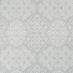 Walls Republic - Honeycomb Mandala Cool Grey Wallpaper R1890, Double Roll - Honeycomb Mandala presents a textured honeycomb layout with a regal inset decoration, offering you endless possibilities for exciting designs. This grey geometric wallpaper is great for a dining room or powder room.