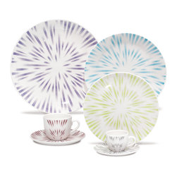 Oxford Porcelains - Karim Rashid-Coup Line- Dust 20 pc Set - Food and drink, bursting with flavor should be served on equally exciting tableware. This stimulating set features a vibrant pattern that evokes a shower of fireworks in the sky. Now every one of your days (and nights) seems like the Fourth of July.