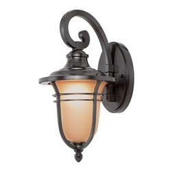 Trans Globe Lighting - Trans Globe Lighting Rustic Lodge Oil Rubbed Bronze Outdoor Wall Light - New for Autumn an outdoor collection oil rubbed bronze wall brackets hanging lanterns post top lamps and pole lamps. Many sizes and styles. Trans Globe Lighting is proud to be a leading manufacturer of residential lighting lamps and home decor since 1986. Born from the hopes and aspirations of two entrepreneurial spirits Trans Globe Lighting is a true testament to the American dream. Their company mission from the start was exceeding the industry standard in value style and selection. Today that mission remains stronger than ever.  In 2005 they expanded into a larger distribution facility in beautiful Valencia CA. This enables them to stock a steady on-hand inventory of over 3000 SKU's ranging from small outdoor porch lights to massive Bohemian crystal chandeliers. Features include UL Listed for Wet locations Oil rubbed bronze finish Frosted amber shade Vintage outdoor lighting Matching outdoor collection. Specifications Finish: Oil Rubbed Bronze Material: Metal Bulb Type: Medium - E-26 - E-27 - Type A Number Of Bulbs: 1 Watt Per Bulb: 100 Wattage: 100 Bulbs Included: No Suitable For: For outdoor use Energy Saving: No.