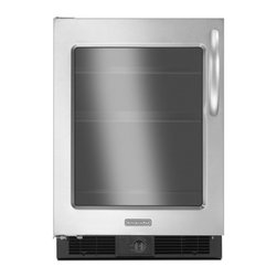 """KitchenAid - Architect Series II KURG24XWBS 24"""" 5.7 cu. ft. Capacity Compact Refrigerator  Ma - Consider adding an undercounter refrigerator to your satellite kitchen to keep beverages close to your entertaining spaces With a glass door you can easily see ingredients or showcase a special creation Fits in the space of a 24-inch deep standard ba..."""