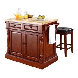 Crosley Furniture - Crosley Oxford Butcher Block Top Kitchen Island with Stools in Cherry - Crosley Furniture - Kitchen Carts - KF300065CH