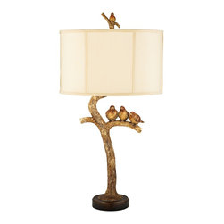 """Lamps Plus - Country - Cottage Three Bird Gold Leaf Table Lamp - This Three Bird Light has an elegant tree branch base. With three birds perched together on a limb this table lamp adds a relaxing ambiance to any room. A golden bird finial sits atop the cream shantung traditional drum shade. A rich gold leaf and black finish complete the look adding light and beauty to any home.  Gold leaf and black finish. Cream shantung soft back shade. Gold leaf finish bird finial. Maximum 100 watt or equivalent medium base bulb (not included). 31"""" high. Shade is 11"""" wide 10"""" high.  Gold leaf and black finish.  Cream shantung soft back shade.  Gold leaf finish bird finial.  Maximum 100 watt or equivalent medium base bulb (not included).  31"""" high.  Shade is 11"""" wide 10"""" high."""