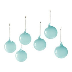 Serena & Lily - Glass Globes Glacier (Small, Set of 6) - Create a festive air with glass spheres in different sizes and hues. Lay them on the mantel, arrange them in a bowl, sprinkle them into your holiday décor. The more, the merrier. Choose from a palette that's cheerful, vibrant, and fresh.