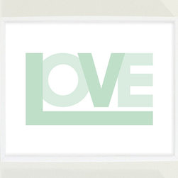 Mint Green Love Print Nursery Wall Art by Field Trip - This is a great art print to remind your little ones how much they are loved. Mix this together with other framed prints to make an art collage wall.