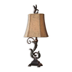 Uttermost - Carolyn Kinder Caperana Table Lamp - Set of 2 - Designer: Carolyn Kinder. Set of 2. Wattage: 40. Socket Type: On-Off. 7 in. W x 9 in. D x 24 in. HMatte black finish with a heavy verdigris wash over the leaf details and bronze undertones. The rectangle clipped corners bell shade is a silken chocolate bronze textile with black slabbing and multiple layers of trim.