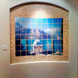 Custom Printed Tile - The photograph of Lake Como was sent to us and the tile mural was produced on tumbled tile. The size of the installation was specified by the client. We improved some of the shadows and highlights of the original image and then sized appropriately for the required width and height. By custom-tiles.com
