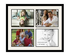 ArtToFrames - ArtToFrames Collage Photo Frame  with 4 - 11x14 Openings and Satin Black Frame - Your one-of-a-kind photos deserve one-of-a-kind frames, but visiting a custom frame shop can be time consuming and expensive. ArtToFrames extensive and growing line of inexpensive multi opening Photo Mats will get you the look you want at a price you can afford. Our Photo Mats come in a variety of sizes and colors and can be custom made to your needs. Frame choices range from traditional to contemporary, with both single and multiple photo opening mat options. With our large selection of custom frame and mat choices, the design possibilities are limitless. When you're done, you'll have a unique custom framed photo that will look like you spent a fortune at a frame shop. Your frame will be delivered directly to your front door or sent as a gift straight to your recipient. _.:*~*:._ Product SKU # - Double-Multimat-9-61/89-FRBW26079