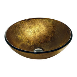 VIGO Industries - VIGO Liquid Gold Glass Vessel Bathroom Sink - The VIGO Liquid Gold glass vessel bowl is elegant and luxurious, featuring a bright color reminiscent to a bar of gold.