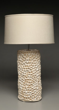 Ocean Table Lamp - Hand-bult ceramic table lamp inspired by the sea. Nickel fittings. Includes lampshade.