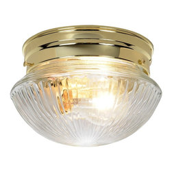 Premier - Dome Ribbed Glass 6 inch Ceiling Light - Polished Brass - Premier 671331 7-1/2in. D by 4-5/8in. H Ribbed Glass Ceiling Fixture, Polished Brass Finish.
