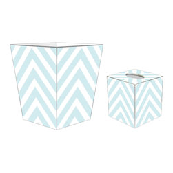"""Marye Kelley - Marye Kelley Light Blue Chevron Decoupage Wastebasket with Optional Tissue Box, - This is a handmade decoupage wastebasket with optional tissue box.  All items are handmade in the USA.  There are three different styles available.  There is the 12"""" Fluted Tin Design, the 11"""" Square Design with a flat top or the 11"""" Square design with a scalloped top.  Coordinating tissue boxes may also be made. Please note all items are custom made and may not be returned."""
