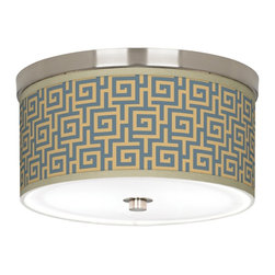 "Giclee Gallery - Asian Greek Key Storm Giclee Nickel 10 1/4"" Wide Ceiling Light - Brushed nickel finish. Greek Key Storm pattern. Acrylic diffuser. Energy efficient. Custom-made giclee shade. Includes two 13 watt CFL bulbs. 10 1/4"" wide. 5"" high.   Brushed nickel finish.  Greek Key Storm pattern.  Acrylic diffuser.  Energy efficient.  Custom-made giclee shade.  Includes two 13 watt CFL bulbs.  10 1/4"" wide.   5"" high."