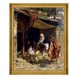 """Otto Didrik Ottesen-16""""x20"""" Framed Canvas - 16"""" x 20"""" Otto Didrik Ottesen Ottoman Soldiers At Rest framed premium canvas print reproduced to meet museum quality standards. Our museum quality canvas prints are produced using high-precision print technology for a more accurate reproduction printed on high quality canvas with fade-resistant, archival inks. Our progressive business model allows us to offer works of art to you at the best wholesale pricing, significantly less than art gallery prices, affordable to all. This artwork is hand stretched onto wooden stretcher bars, then mounted into our 3"""" wide gold finish frame with black panel by one of our expert framers. Our framed canvas print comes with hardware, ready to hang on your wall.  We present a comprehensive collection of exceptional canvas art reproductions by Otto Didrik Ottesen."""