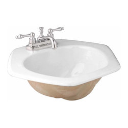 Renovators Supply - Drop In Bowls White China Honeycomb Drop In Bowl   10684 - Sink. The white vitreous china Honeycomb drop in sink takes a 4 inch centerset faucet and it is self-rimming. Measures 8 1/2 inch H x 21 inch W x 19 inch projection