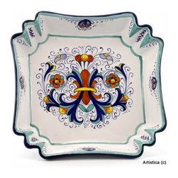 Artistica - Hand Made in Italy - VECCHIA DERUTA: Square fancy bowl - Vecchia deruta (Old Deruta) is a richer and more formal version of the renowned 'Ricco Deruta' pattern.