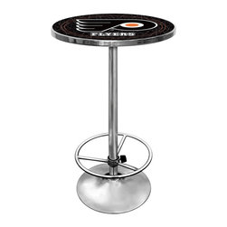 Trademark Global - Round Pub Table w NHL Philadelphia Flyers Log - With a rugged acrylic top and official team logo, you'll find many uses for this Philadelphia Flyers pub table. It has a solid steel base with chrome finish and convenient footrest. Add to your gameroom, eating area and other spaces for genuine hockey character. Great for gifts and recreation decor. 0.125 in. Scratch resistant UV protective acrylic top. Full color printed logo is protected by the acrylic top. Table top is trimmed with chrome plated banding. 1 in. Thick solid wood table top. Chrome base with foot rest and adjustable levelers. 28 in. L x 28 in. W x 42 in. H (72 lbs.)This National Hockey League officially licensed pub table is the perfect for your game room on Hockey Night.
