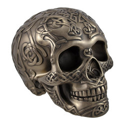 Bronzed Skull with Celtic Knotwork Statue Pagan - This highly detailed bronzed skull is an excellent addition to any skull collection. Made of cold cast resin, it measures 4 3/4 inches tall, 6 1/2 inches long, and 4 1/2 inches wide. The skull has a bronzed finish that emphasizes the detail in the endless Celtic knot pattern and that is sure to complement most any decor. This piece is an awesome accent to bookcases, shelves, tables or desks in your home or office that is sure to be admired. It is also a thoughtful gift for a skull loving friend.