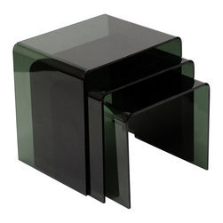 Modway Furniture - Modway Casper Nesting Table in Black - Nesting Table in Black belongs to Casper Collection by Modway The Casper nesting tables are made of rounded sheets of acrylic, giving a clean see-through look to the 3 piece set. Perfect for a small living room, this space saving design lets you entertain many and keep your space clear afterwards. Set Includes: One - Large Casper Nesting Table One - Medium Casper Nesting Table One - Small Casper Nesting Table Nesting Table (3)